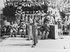 Irving Berlin singing aboard USS Arkansas, 1944