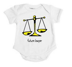 Organic Future Attorney Lawyer Justice Scales Baby Onesie / Bodysuit. $27.00, via Etsy.