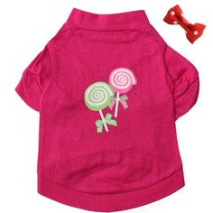Pet Clothes Hot Pink Dog T Shirt Lollipop Printed Dog Clothes Soft and Cute Dog Clothing Small Dogs Clothes Cotton Dog Costume + 1xBowknot (M) - http://www.thepuppy.org/pet-clothes-hot-pink-dog-t-shirt-lollipop-printed-dog-clothes-soft-and-cute-dog-clothing-small-dogs-clothes-cotton-dog-costume-1xbowknot-m/