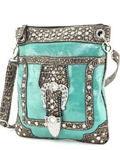 Turquoise Crocodile Rhinestone Buckle Western Messenger Purse $39.99...I have this in black! (:
