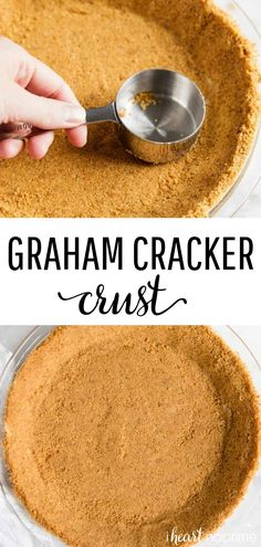 Graham Cracker Crust - Made with 3 ingredients in less than 20 minutes! Delicious buttery taste with golden brown edges. Graham Cracker Crust - Made with 3 ingredients in less than 20 minutes! Delicious buttery taste with golden brown edges. Cheesecake Crust, Cheesecake Recipes, Pie Recipes, Baking Recipes, Baking Desserts, Homemade Desserts, Party Desserts, Healthy Desserts, Graham Cracker Crust Cheesecake