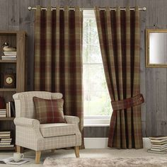 Wine Highland Check Lined Eyelet Curtains | Dunelm