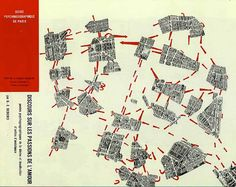 "Theorist Guy Debord's 1957 Guide Psychogeographique de Paris records one observer's ""drift"" though the atmospheres and emotions of Paris. From Grand Reductions: 10 Diagrams That Changed City Planning Guy Debord, Situationist International, Urban Mapping, Paris Map, Map Design, Graphic Design, Design Concepts, Graphic Art, Architecture Drawings"