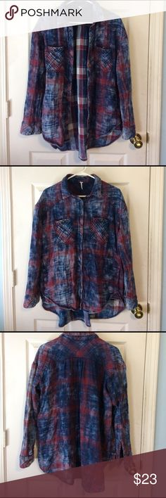 "free People tie dye red & blue flannel button down ▫️free People tie dye red & blue flannel button down ▫️metal button closure down front. At pockets. At wrists▫️great condition, no holes or pilling. ▫️long ""boyfriend style"" makes this a perfect pair with leggings. ▫️Can be worn open, buttoned, or tied up▫️great worn alone as sleep shirt. ❌no trades 💌fast shipping⚡️bundle to save! I accept reasonable offers on bundles (more than 20% off at times!). Without bundling, the price is firm on…"