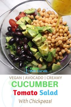 This cucumber chickpea tomato salad is a big hit even if you don't like salads. It's a healthy and filling side dish taking only 10 minutes to prepare! Whole Food Recipes, Diet Recipes, Vegetarian Recipes, Healthy Recipes, Vegetarian Salad, Alkaline Recipes, Healthy Salads, Healthy Cooking, Healthy Eating