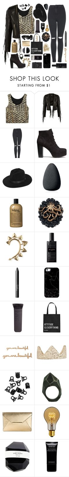 """""""'til the sun dies"""" by rowanthethree ❤ liked on Polyvore featuring Balmain, Topshop, H&M, Gladys Tamez Millinery, Christian Dior, philosophy, Rachel Entwistle, Alaïa, NARS Cosmetics and Casetify"""