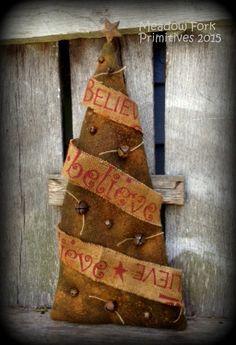 Primitive Folk Art Handcrafted Christmas Tree *Believe* with Rusty Bells-Wool Army Blanket Tree-Winter, Hafair Team, Faap by MeadowForkPrims on Etsy