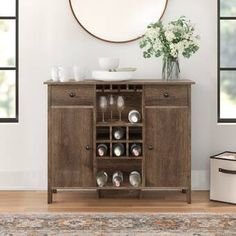 Wade Logan® Isabell Bar with Wine Storage & Reviews | Wayfair Home Bar Cabinet, Liquor Cabinet, Wine Rack Storage, Wine Bottle Rack, Countertop Materials, Wine Cabinets, Engineered Wood, Adjustable Shelving, Storage Spaces