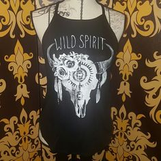 Rose bull horn tank BNWT Rose, bullhorn black and white tank. Stretchy. Tops Tank Tops