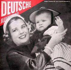 Princess Grace and Princess Caroline - Monaco National Day (1957)