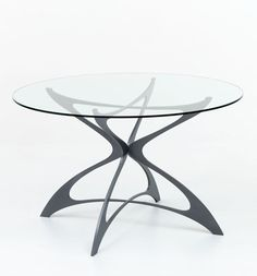 Metal Glass Contemporary Opera Round Dining Table