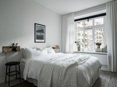 bedroom, white linen bedding