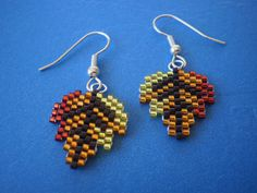 Fall Autumn Leaves Leafs  Beaded  Dangle Earrings in Yellow Orange and Red with…
