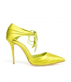 Lime satin pumps from Manolo Blahnik.