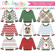 Ugly Sweater Party Clipart – Erin Bradley/Ink Obsession Designs