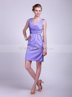 V Neck Pleated Taffeta Bridesmaid Dress 0114066  Extremely simple and austere, this short bridesmaid can be perfectly matched with your wedding theme. Your bridesmaids will be pleased to know that this dress is for them in the party. Classic combination of V-neck and sleeveless design can be found in it. Silhouetted in column, made of structured taffeta, this dress is perfectly made for you.