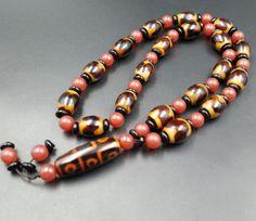 Tibetan heavenly bead necklace pendant / lxq unisex heavely bead agate necklace/ fancy necklace