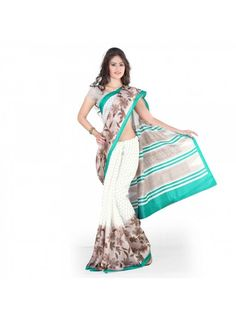 White - Grey Casual Printed Saree