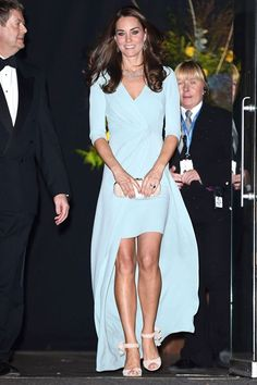 The Duchess of Cambridge wears a blue Jenny Packham gown at an event at London's Natural History Museum