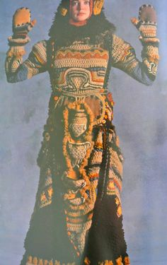 """1970s crochet coat (""""African Mask"""") by Janet Lipkin"""