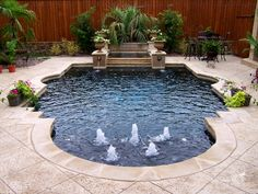 THIS IS IT.  A small formal pool.  Wouldnt you feel like a queen soaking in that spa??