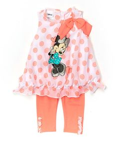 Look what I found on #zulily! Coral Polka Dot Minnie Mouse Top & Leggings - Toddler & Girls #zulilyfinds