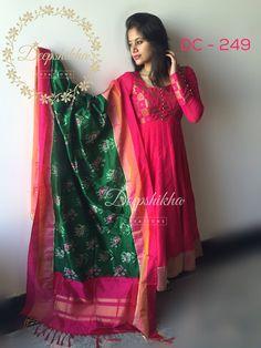 Dress silk indian blouse designs new Ideas Kurti Designs Party Wear, Salwar Designs, Saree Blouse Designs, Dress Designs, Indian Gowns, Indian Attire, Indian Outfits, Kalamkari Dresses, Ikkat Dresses