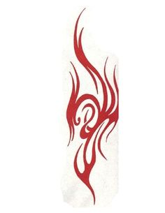 Red Flame Tribal Design Tattoo