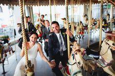Courtney & Carl fun wedding photos at Luna Park.