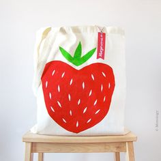 Strawberry Tote Bag / Mi media fresa by Mimology on Etsy