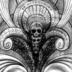 """Skulls"" (Pencil on Paper, 21 x Psy Art, Psychedelic Art, Sketching, Skulls, 21st, Pencil, Statue, Paper, Instagram"