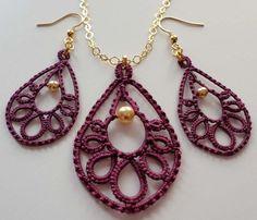 Trendy Teardrop tatted earrings, pendant