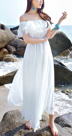 Women's White Off The Shoulder|Ruffle Beach Holiday Boho Strapless Dress