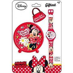 Set ceas destepator cu ceas de mana copii Minnie Mouse Disney DS10437 Setul Disney Minnie Mouse contine un ceas desteptator cu diametrul de 9 centimetrii si un ceas de mana.Ceasul de mana frumos imprimat este rezistent la apa, bratara acestuia este din plastic, stilul este casual. Mecanismul este quartz si displayul este digital.Catarama este standard. Garantia setului este de doi ani.Ceasul desteptator este ideal pentru camera copilului tau. Impreuna  cu Mickey si personajele Disney…