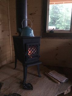 Jotul 602 wood burning stove the sole source of heat for our tiny one room cabin - Small space wood stove model ...