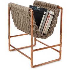 Recycled Rope Magazine Rack (320 CAD) ❤ liked on Polyvore featuring home, home decor, small item storage, handmade home decor and recycled magazine basket