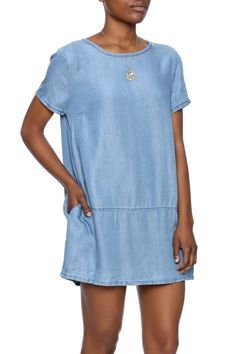 Short sleeve, lightweight denim dress with a back zipper closure and pockets.    Chic Denim Dress by Glam Squad Shop. Clothing - Dresses - Mini Clothing - Dresses - Short Sleeve Clothing - Dresses - Denim Las Vegas
