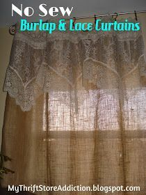 Thrift store lace, burlap and clip on rings for the easiest no sew curtains, ever! mythriftstoreaddiction.blogspot.com