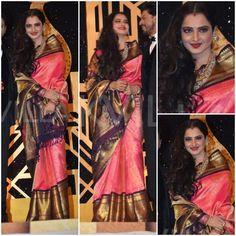 Can we ever get bored of seeing Rekha in Kanjeevaram sarees ? For the upteenth time, Rekha was seen in a wide bordered Kanjeevarm sar. Rekha Saree, Bollywood Saree, Indian Sarees, Silk Sarees, Saris, Kanjivaram Sarees, Indian Dresses, Indian Outfits, Wedding Sarees Online