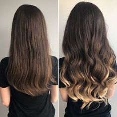 Get the ombre look without any damage by adding Luxy Hair Ombre extensions! Ombre Hair Brunette, Blonde Hair Tips, Ombre Hair Color For Brunettes, Dark Ombre Hair, Ombre Blond, Brown Hair Balayage, Brown Blonde Hair, Hair Color Highlights, Hair Color For Black Hair