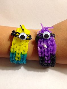 Super cute minion inspired weave rubber band bracelet you choose the color