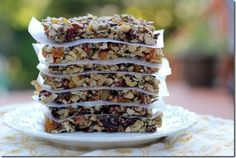 Homemade Fruit and Nut Bars (GF) (almonds, walnuts, apricots, dried fruit, pumpkin seeds)