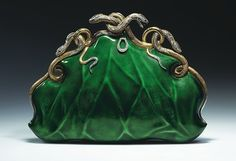 """Circa 1968 Aloisia Rucellai evening bag, gold and platinum, translucent enamel, diamonds, and rubies."""