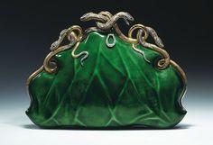 """Circa 1968 Aloisia Rucellai evening bag, gold and platinum, translucent enamel, diamonds, and rubies."""