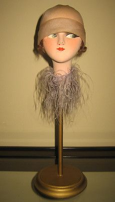 9637be0efbd Antique French Art Deco Boudoir Doll Cloth Head Hat Stand Orig Label  Chaponelle