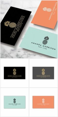 A timeless and elegant logo of a pineapple is styled with your name or business name on these customizable business cards and brand materials. The pineapple design is perfect for hospitality, real estate agents, interior designers, boutiques and more. Art and design by 1201AM Brand Design - www.1201am.com