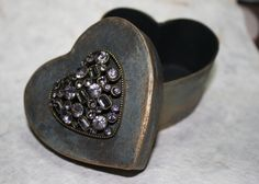 Wedding ring box, paper mache, bejewelled box.