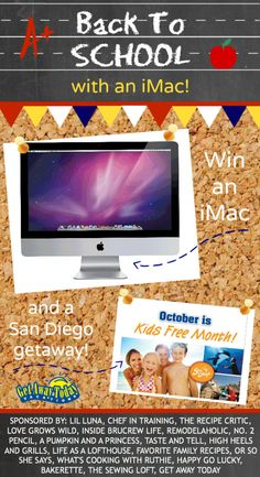 How would you like to win an iMac AND a trip to San Diego at our Back-to-School Giveaway? This is HUGE! Dont let this opportunity pass you by! Enter now! Bakerette.com