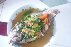The fresh steamed tilapia is rich in protein. Steamed Tilapia, Stir Fry Ginger, Cooking For Three, Best Chinese Food, Rich In Protein, Freshwater Fish, The Fresh, Food Print, Fries