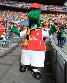 Arsenal mascot Gunnersaurus before the FA Cup Final between Aston Villa and Arsenal at Wembley Stadium on May 30, 2015.